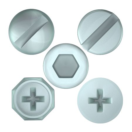 A render of a set of several screw heads from above Stock Photo
