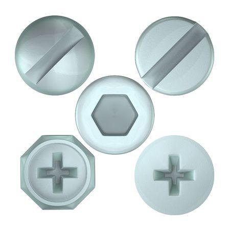 tornillos: Una interpretaci�n de un conjunto de varios jefes de tornillo desde arriba Foto de archivo