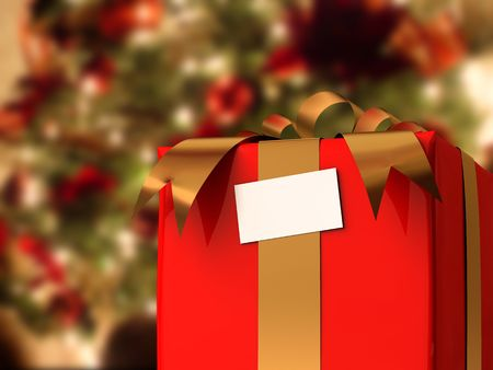 A render of a present in front of a christmas tree photo