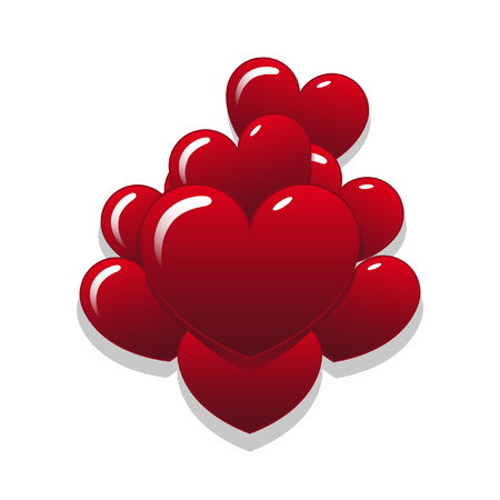 Vector of heart shaped ballons in a pile