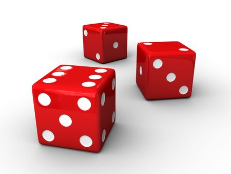 six objects: A render of 3 isolated red dices