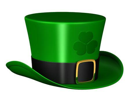 Een weergave van een geïsoleerde leprechaun hoed  Stockfoto