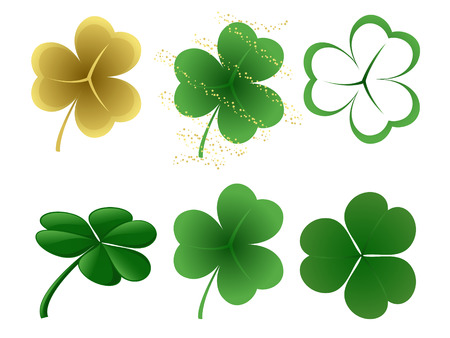 A set of 6 different shamrock designs