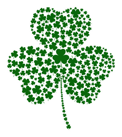 clover leaf shape: A Shamrock made of different sized clovers