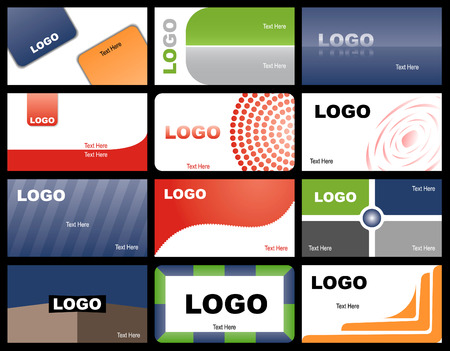 A set of twelve designs of business cards
