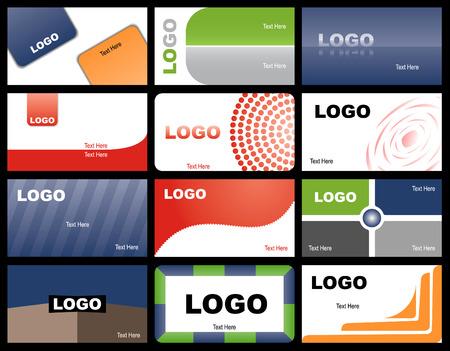 Een reeks van twaalf ontwerpen voor visite kaartjes