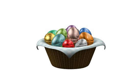A render of a basket full of colored easter eggs over a cloth photo