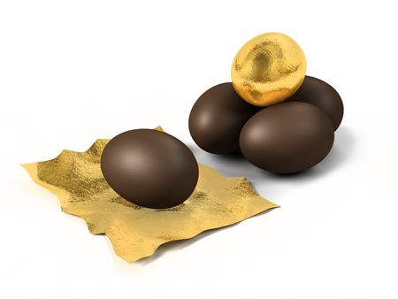 A render of chocolate eggs wrapped with gold foil