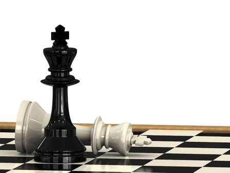 xadrez: A check mate from a chess king to another on a checkboard