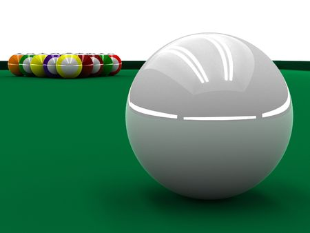 A render of a white ball placed to play pool photo