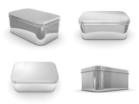 Een weergave van de verschillende weergaven van een metalen doos  Stockfoto