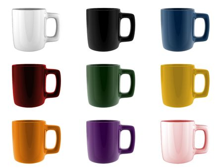 A render of a set of different colored mugs Stock Photo - 6869917