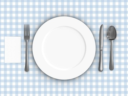 A render of a table setting over a tablecloth Stock Photo