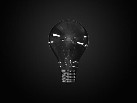 incandescent: A render of an incandescent lightbulb over a dark background
