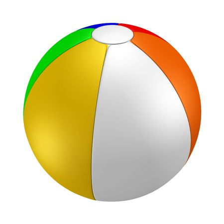 A render of an isolated colorful beach ball