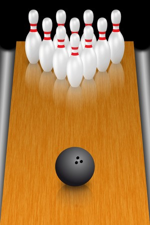 bowling strike: A render of a bowling ball in front of standing pins