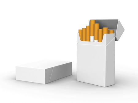 A render of two isolated blank packs of cigarettes Stock Photo