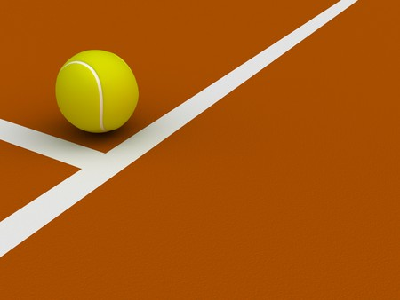 A render of a tennis ball on the ground near the court lines photo