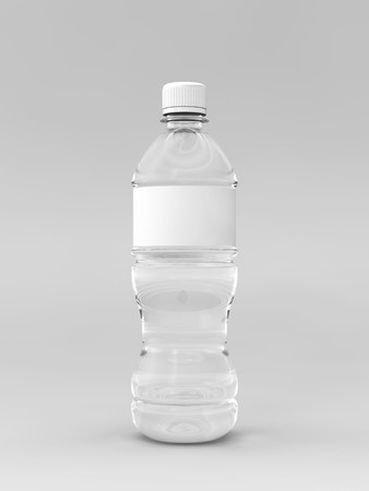 grey water: A render of a labeled water bottle over a whit background