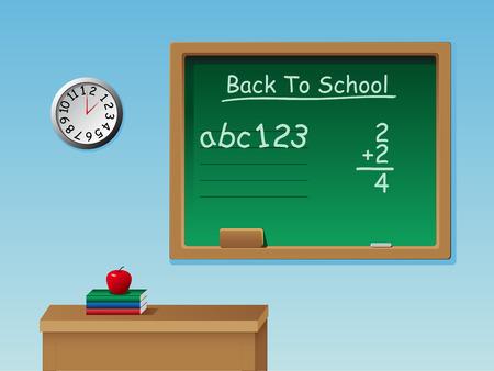 board room: Un aula con un escritorio, pizarra, tiza, libros, reloj y una manzana
