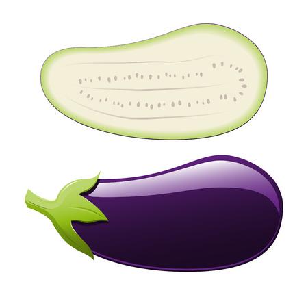Een geïsoleerde aubergine en een half  Stock Illustratie