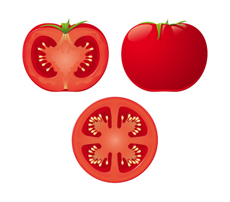 An isolated tomato and two halves