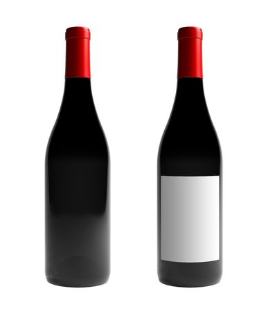 A render of an isolated labeled and an unlabeled burgundy wine bottle