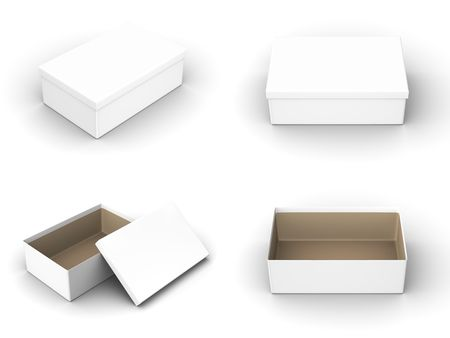 product box: A render of different views of an isolated shoebox Stock Photo