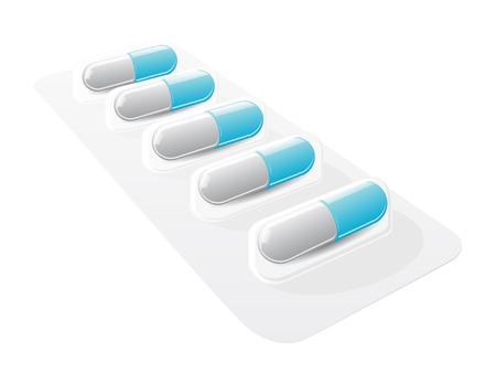pil blister met gel capsules Stock Illustratie