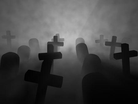 cementerios: Una interpretaci�n de un cementerio en una noche de niebla