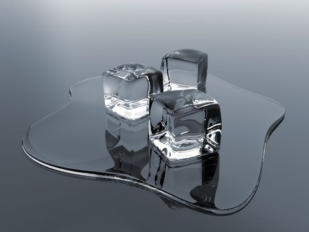 Render of molten ice cubes over a reflective surface Stock Photo