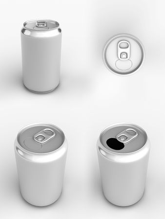 cans: Render of different views of an aluminum can over white