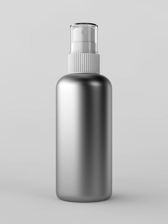 Render of a metallic spray bottle over white