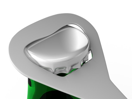 A render of a closeup of a bottle opener opening a green bottle Banco de Imagens