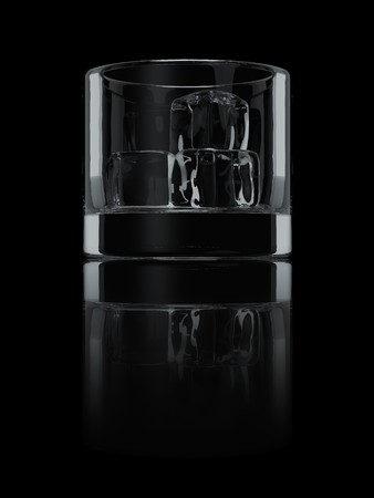 A render of an isolated glass with ice cubes