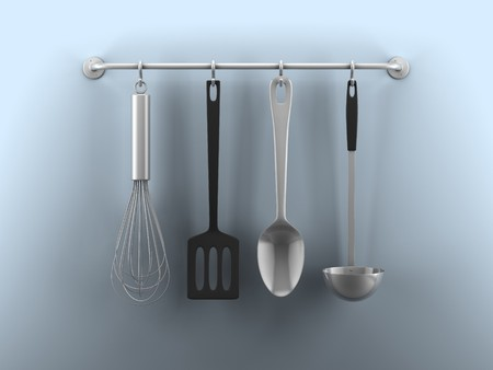 A render of hanging kitchen utensils on a blue wall