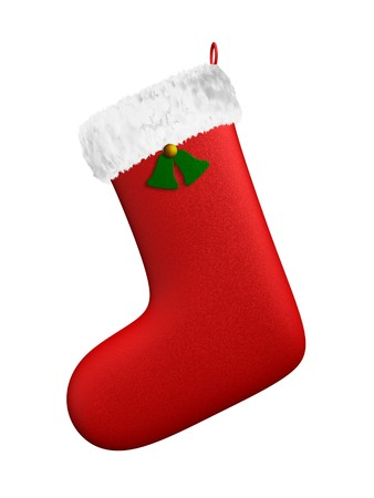 christmas sock: A render of an isolated hanging christmas red boot
