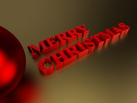 A render of the words merry christmas on a golden surface Stock Photo - 8032851