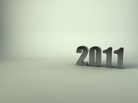 A render of the year number 2011 on a light green background