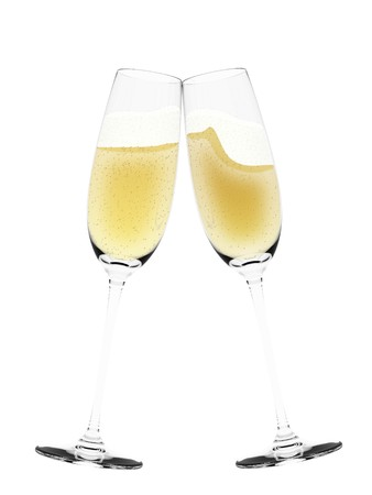 An illustration of a toast of isolated champagne flute