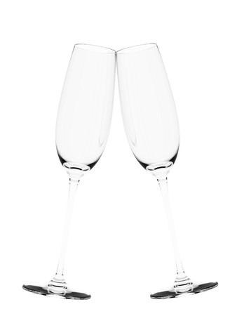 festive occasions: An illustration of a couple of empty flute glass