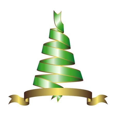 ribbons:   christmas tree made of ribbons