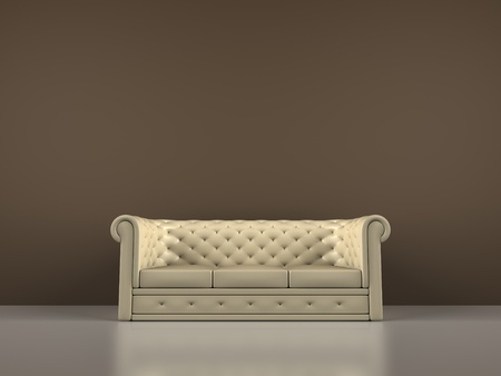 A render of an interior scene with a sofa Stock Photo