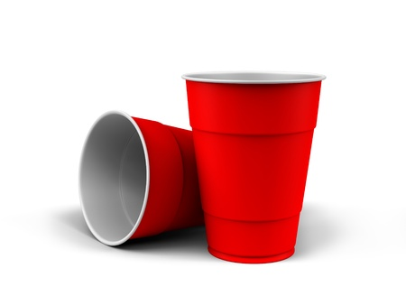 A render of generic plastic cups on white background Stock Photo