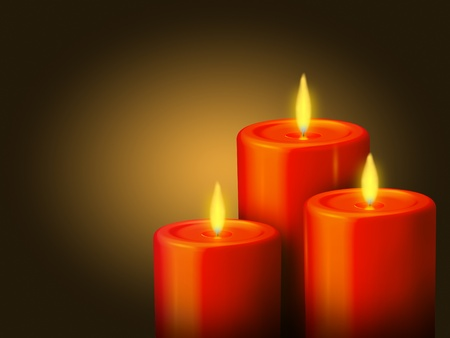 lighted: An illustration of 3 lighted red candles on a golden background