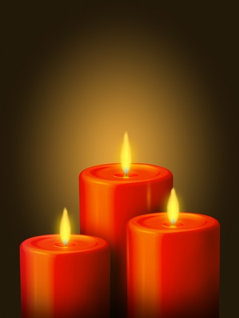 An illustration of 3 lighted red candles on a golden background illustration