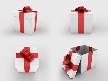 Een weergave van een geïsoleerde wit geschenk verpakking met een rood lint