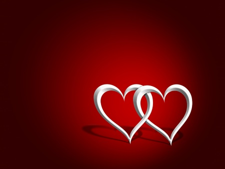 entwined: An illustration of a couple of entwined hearts over a red background
