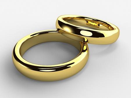 Een render van geïsoleerd Gouden trouw ringen een elkaar Stockfoto