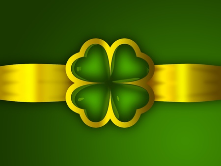 four objects: An isolated reflective glass four leaf clover and a golden ribbon